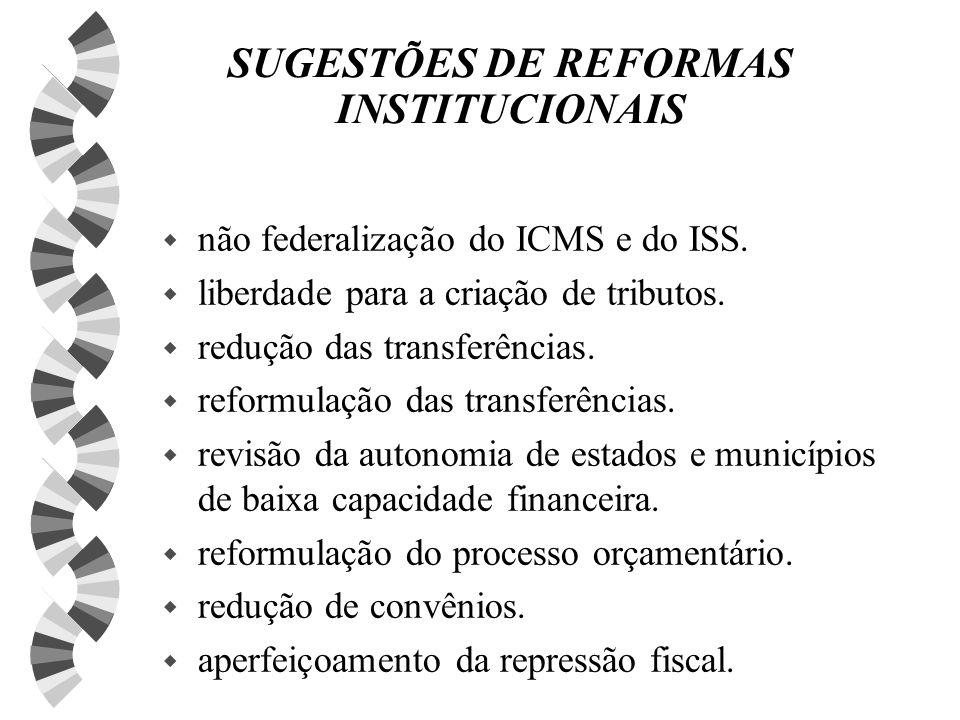 SUGESTÕES DE REFORMAS INSTITUCIONAIS w não federalização do ICMS e do ISS.