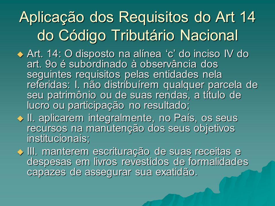 Aplicação dos Requisitos do Art 14 do Código Tributário Nacional Art. 14: O disposto na alínea c do inciso IV do art. 9o é subordinado à observância d