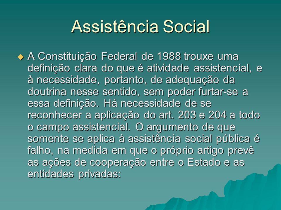 Assistência Social A Constituição Federal de 1988 trouxe uma definição clara do que é atividade assistencial, e à necessidade, portanto, de adequação