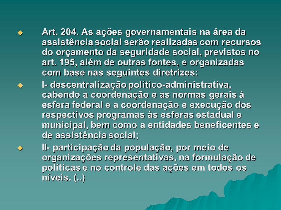 Art. 204. As ações governamentais na área da assistência social serão realizadas com recursos do orçamento da seguridade social, previstos no art. 195