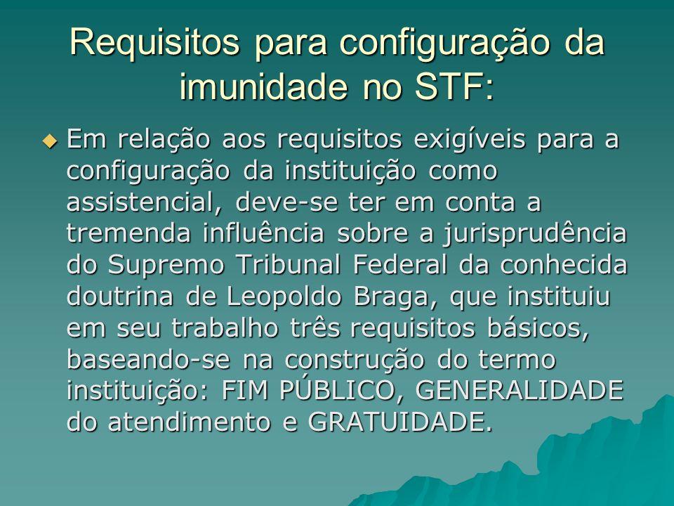 Requisitos para configuração da imunidade no STF: Em relação aos requisitos exigíveis para a configuração da instituição como assistencial, deve-se te