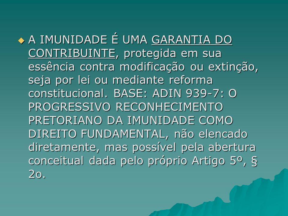 Definição de Mizabel DERZI, feita em notas à obra de Aliomar Baleeiro (1999, p.225-226): Definição de Mizabel DERZI, feita em notas à obra de Aliomar Baleeiro (1999, p.225-226): Do ponto de vista jurídico, todos se põem de acordo em que a imunidade: Do ponto de vista jurídico, todos se põem de acordo em que a imunidade: É regra jurídica, com sede constitucional; É regra jurídica, com sede constitucional; é delimitativa ( no sentido negativo) da competência dos entes políticos da Federação, ou regra de incompetência; é delimitativa ( no sentido negativo) da competência dos entes políticos da Federação, ou regra de incompetência; obsta o exercício da atividade legislativa do ente estatal, pois nega competência para criar imposição a certos fatos especiais e determinados.