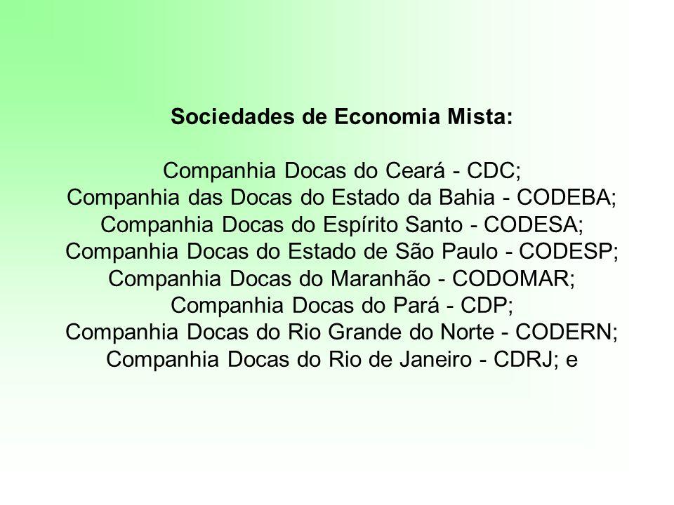 Sociedades de Economia Mista: Companhia Docas do Ceará - CDC; Companhia das Docas do Estado da Bahia - CODEBA; Companhia Docas do Espírito Santo - COD