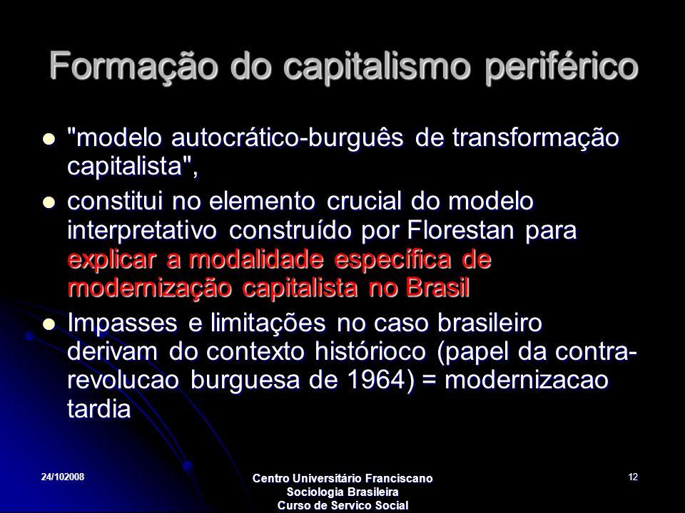 24/102008 Centro Universitário Franciscano Sociologia Brasileira Curso de Servico Social 12 Formação do capitalismo periférico