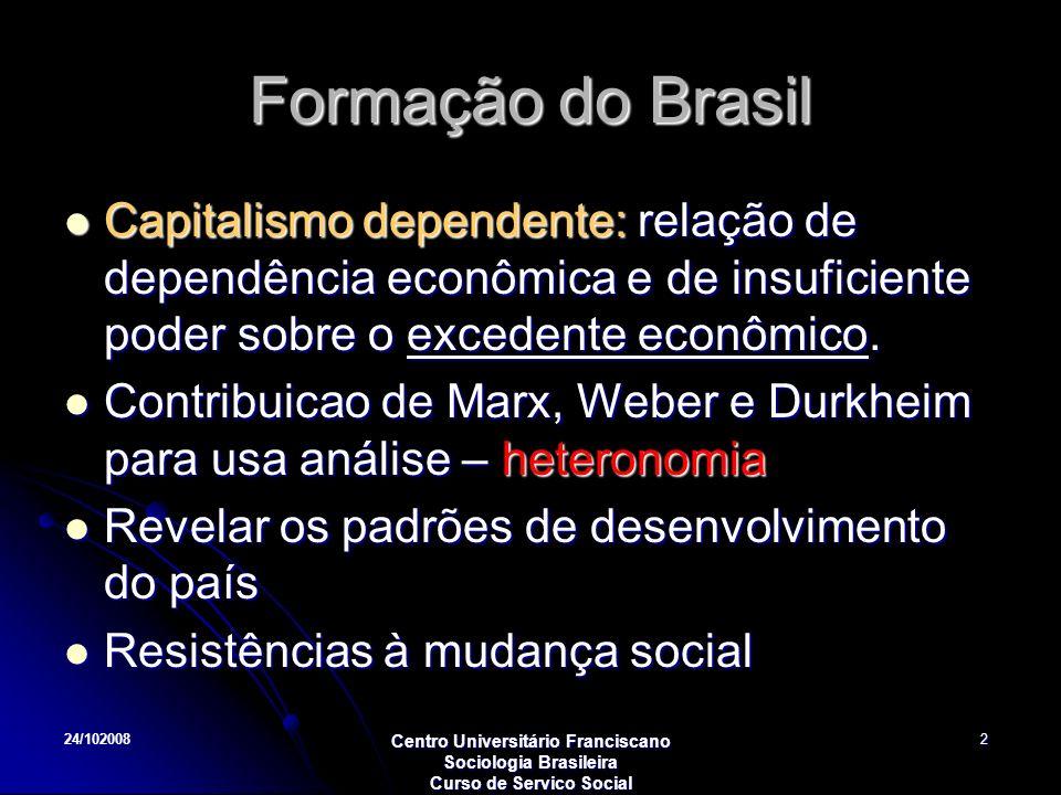 24/102008 Centro Universitário Franciscano Sociologia Brasileira Curso de Servico Social 2 Formação do Brasil Capitalismo dependente: relação de depen