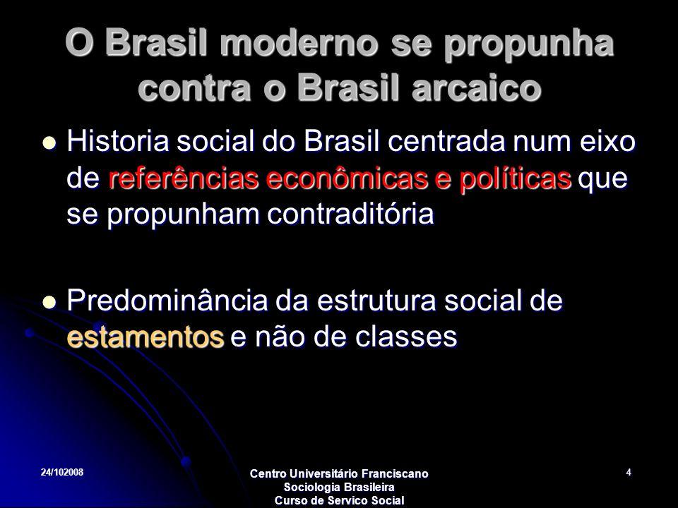 24/102008 Centro Universitário Franciscano Sociologia Brasileira Curso de Servico Social 4 O Brasil moderno se propunha contra o Brasil arcaico Histor