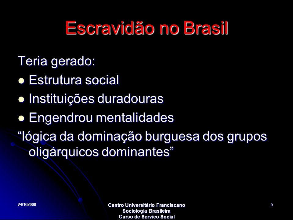 24/102008 Centro Universitário Franciscano Sociologia Brasileira Curso de Servico Social 5 Escravidão no Brasil Teria gerado: Estrutura social Estrutu
