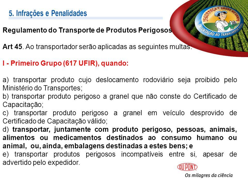 Regulamento do Transporte de Produtos Perigosos Art 45.