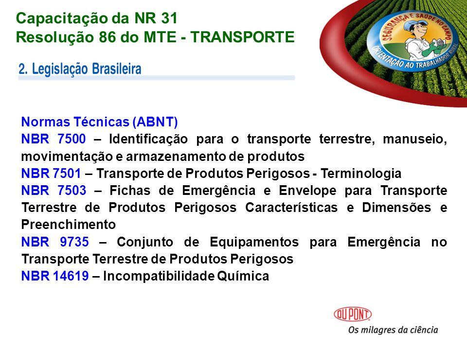 Normas Técnicas (ABNT) NBR 7500 – Identificação para o transporte terrestre, manuseio, movimentação e armazenamento de produtos NBR 7501 – Transporte de Produtos Perigosos - Terminologia NBR 7503 – Fichas de Emergência e Envelope para Transporte Terrestre de Produtos Perigosos Características e Dimensões e Preenchimento NBR 9735 – Conjunto de Equipamentos para Emergência no Transporte Terrestre de Produtos Perigosos NBR 14619 – Incompatibilidade Química Capacitação da NR 31 Resolução 86 do MTE - TRANSPORTE