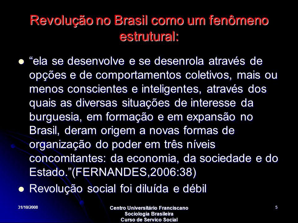 31/10/2008 Centro Universitário Franciscano Sociologia Brasileira Curso de Servico Social 5 Revolução no Brasil como um fenômeno estrutural: ela se de
