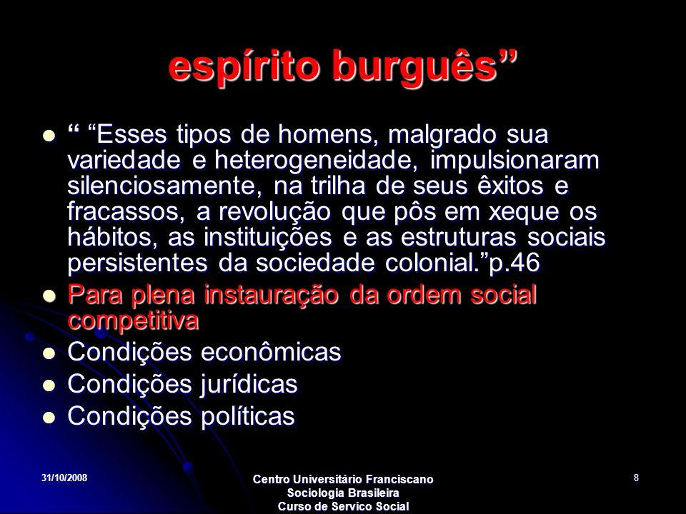 31/10/2008 Centro Universitário Franciscano Sociologia Brasileira Curso de Servico Social 8 espírito burguês Esses tipos de homens, malgrado sua varie