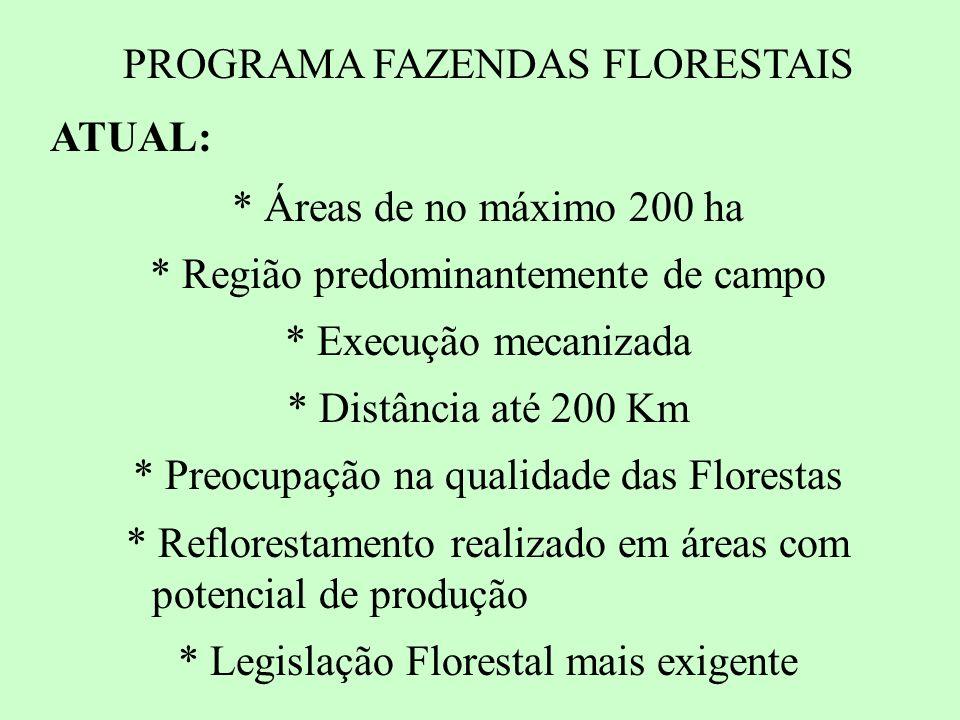 PROGRAMA FAZENDAS FLORESTAIS ATUAL: * Áreas de no máximo 200 ha * Região predominantemente de campo * Execução mecanizada * Distância até 200 Km * Preocupação na qualidade das Florestas * Reflorestamento realizado em áreas com potencial de produção * Legislação Florestal mais exigente