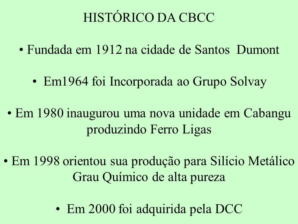 HISTÓRICO DA CBCC Fundada em 1912 na cidade de Santos Dumont Em1964 foi Incorporada ao Grupo Solvay Em 1980 inaugurou uma nova unidade em Cabangu produzindo Ferro Ligas Em 1998 orientou sua produção para Silício Metálico Grau Químico de alta pureza Em 2000 foi adquirida pela DCC