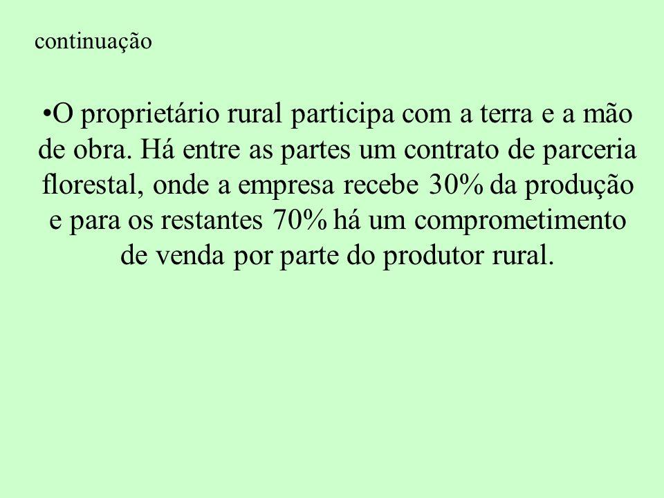 continuação O proprietário rural participa com a terra e a mão de obra.
