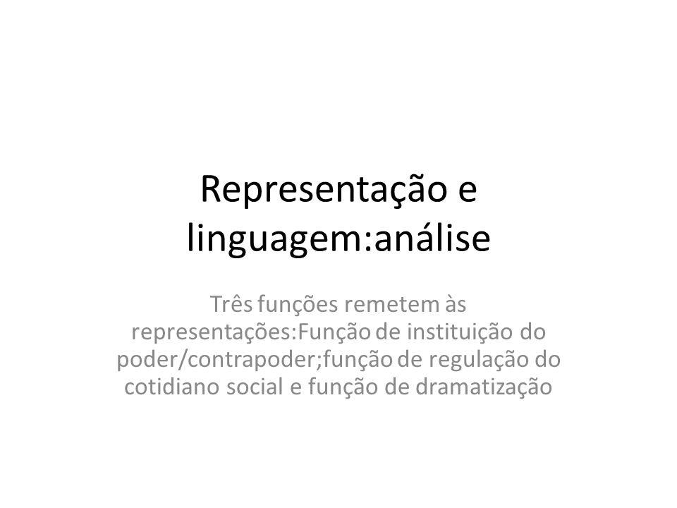 Representação e linguagem:análise Três funções remetem às representações:Função de instituição do poder/contrapoder;função de regulação do cotidiano social e função de dramatização
