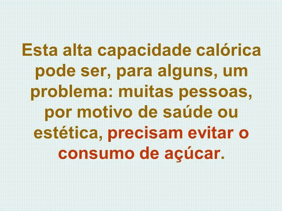 Esta alta capacidade calórica pode ser, para alguns, um problema: muitas pessoas, por motivo de saúde ou estética, precisam evitar o consumo de açúcar