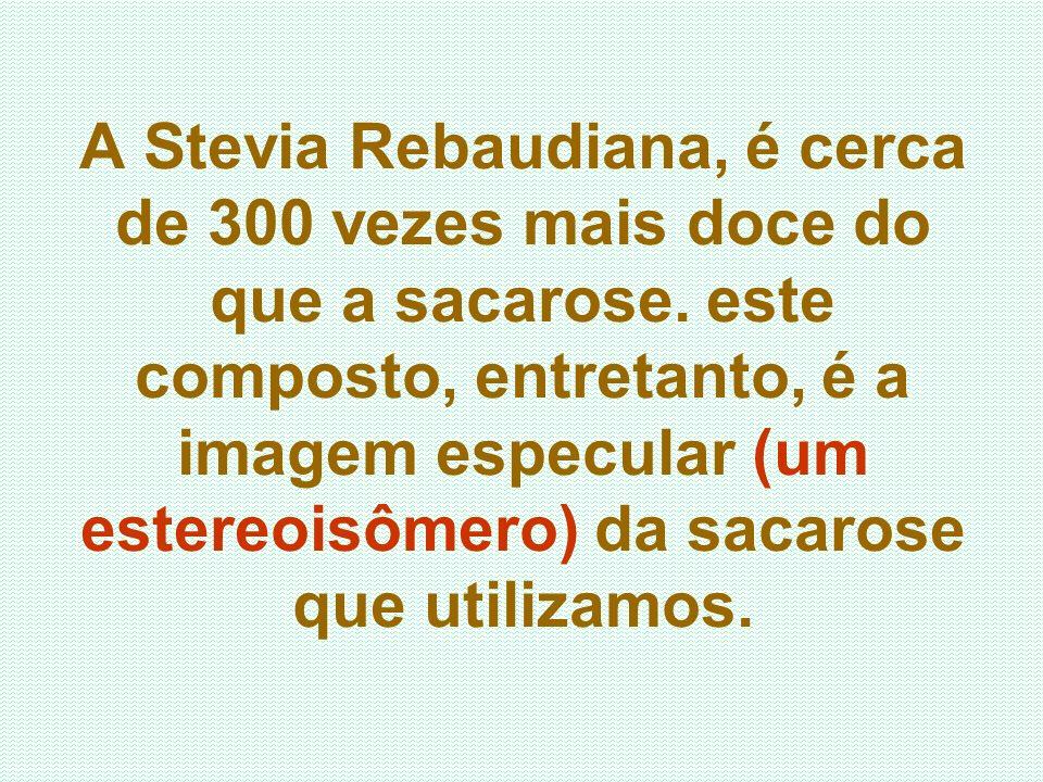 A Stevia Rebaudiana, é cerca de 300 vezes mais doce do que a sacarose. este composto, entretanto, é a imagem especular (um estereoisômero) da sacarose