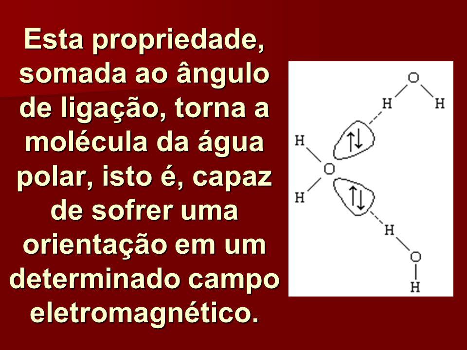 Esta propriedade, somada ao ângulo de ligação, torna a molécula da água polar, isto é, capaz de sofrer uma orientação em um determinado campo eletroma