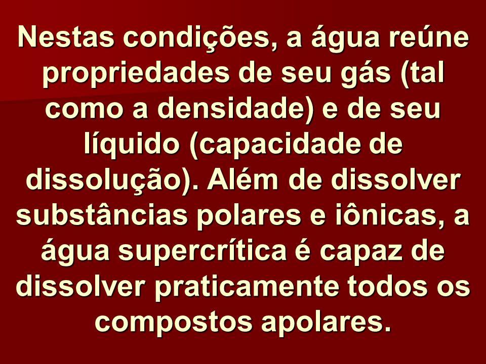 Nestas condições, a água reúne propriedades de seu gás (tal como a densidade) e de seu líquido (capacidade de dissolução). Além de dissolver substânci