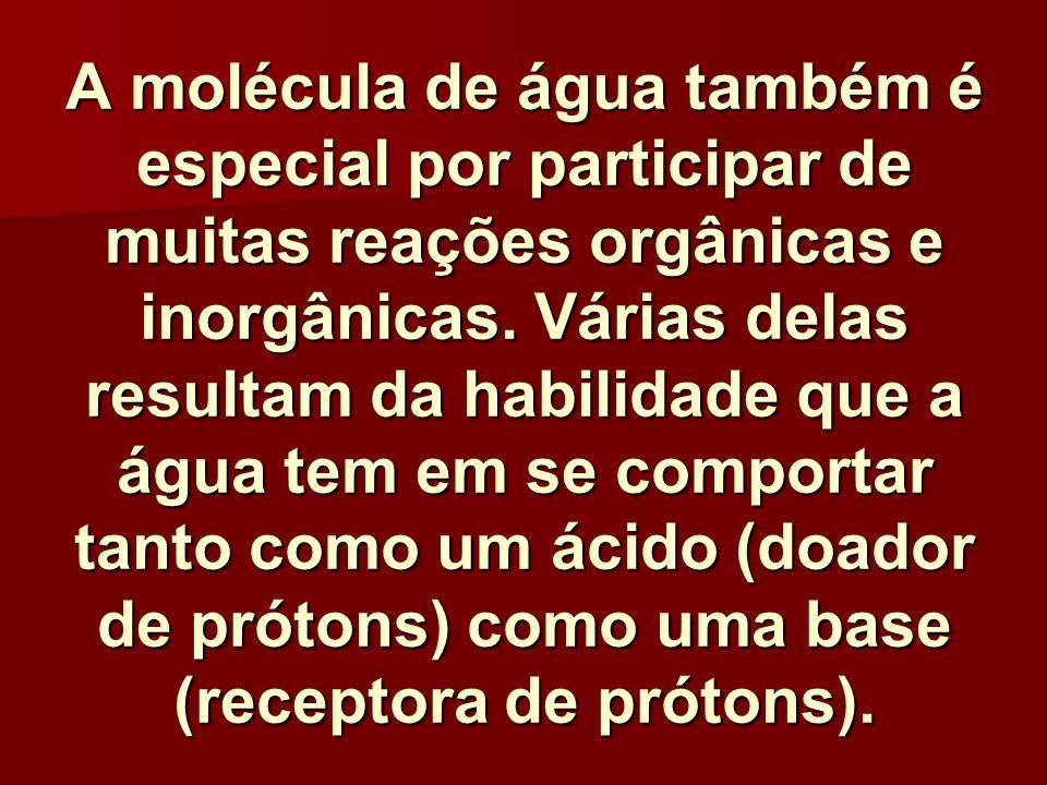 A molécula de água também é especial por participar de muitas reações orgânicas e inorgânicas. Várias delas resultam da habilidade que a água tem em s