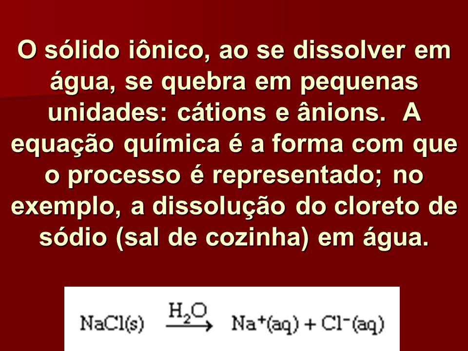 O sólido iônico, ao se dissolver em água, se quebra em pequenas unidades: cátions e ânions. A equação química é a forma com que o processo é represent