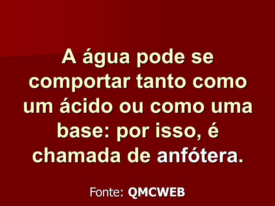 A água pode se comportar tanto como um ácido ou como uma base: por isso, é chamada de anfótera. Fonte: QMCWEB