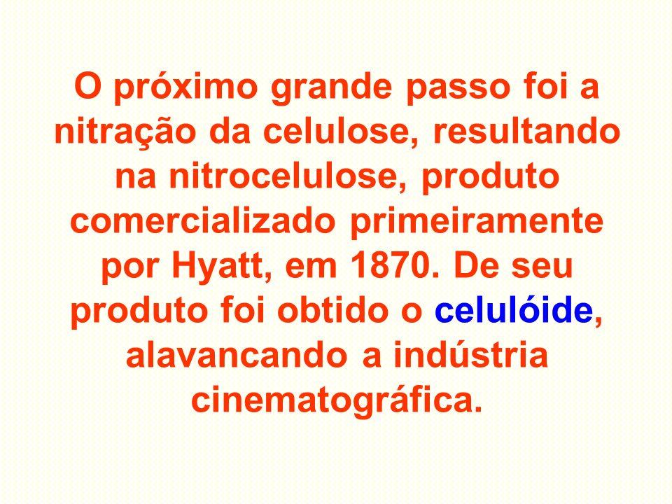 O próximo grande passo foi a nitração da celulose, resultando na nitrocelulose, produto comercializado primeiramente por Hyatt, em 1870. De seu produt