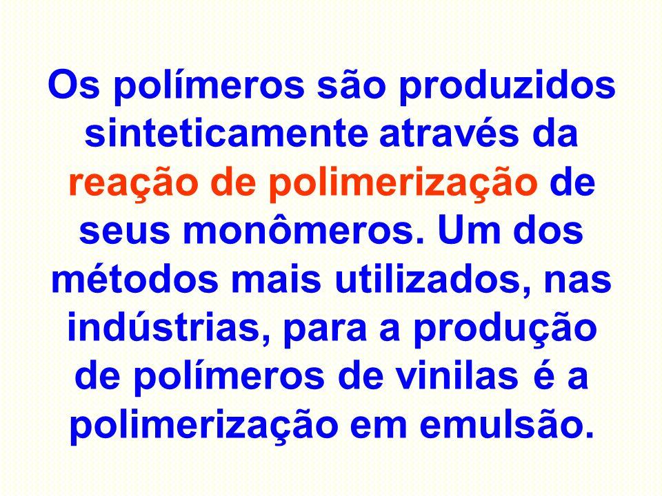Os polímeros são produzidos sinteticamente através da reação de polimerização de seus monômeros. Um dos métodos mais utilizados, nas indústrias, para