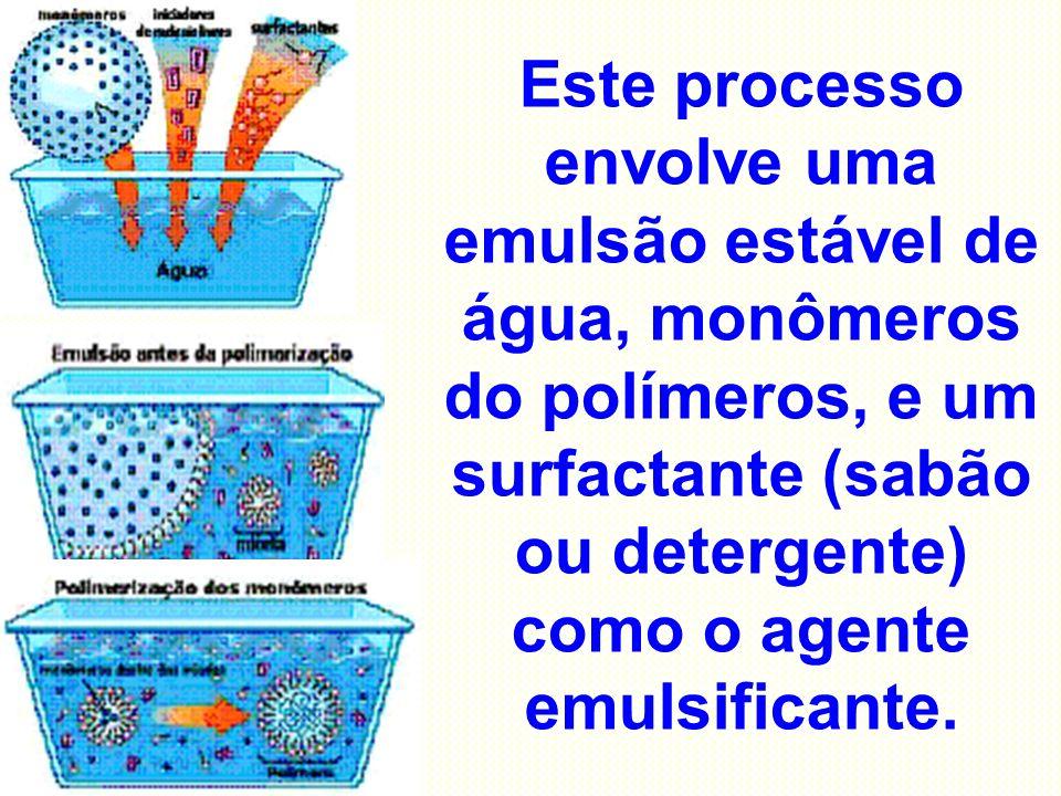 Este processo envolve uma emulsão estável de água, monômeros do polímeros, e um surfactante (sabão ou detergente) como o agente emulsificante.