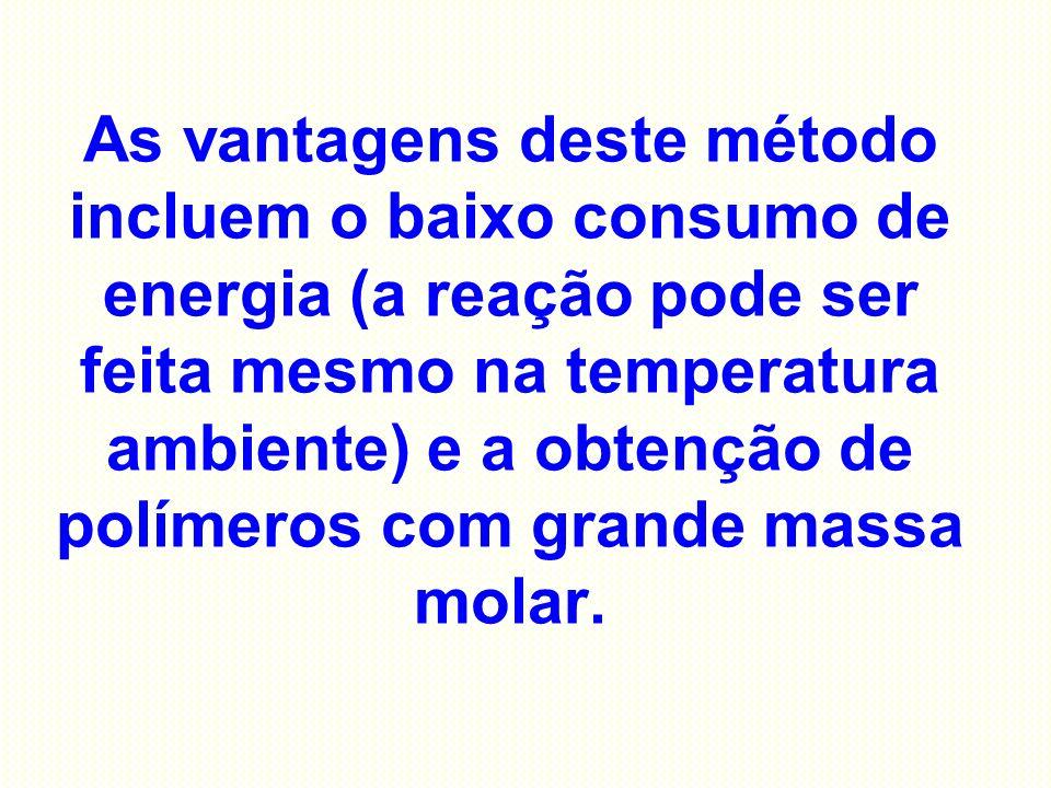 As vantagens deste método incluem o baixo consumo de energia (a reação pode ser feita mesmo na temperatura ambiente) e a obtenção de polímeros com gra