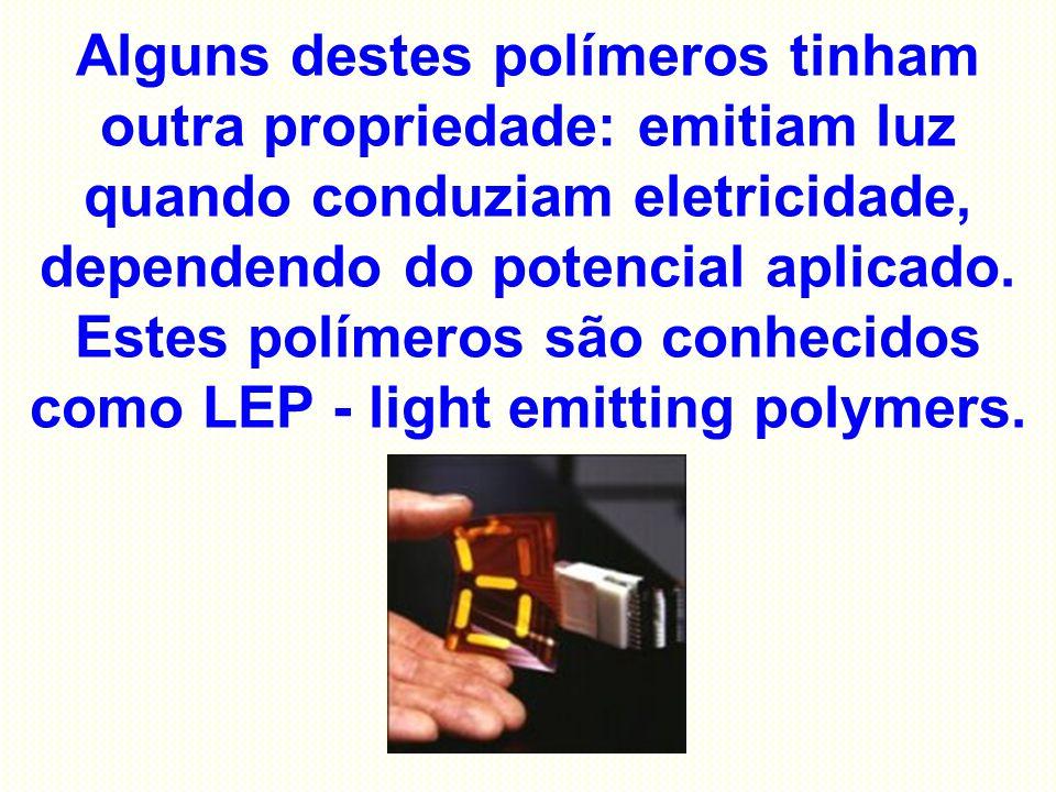 Alguns destes polímeros tinham outra propriedade: emitiam luz quando conduziam eletricidade, dependendo do potencial aplicado. Estes polímeros são con