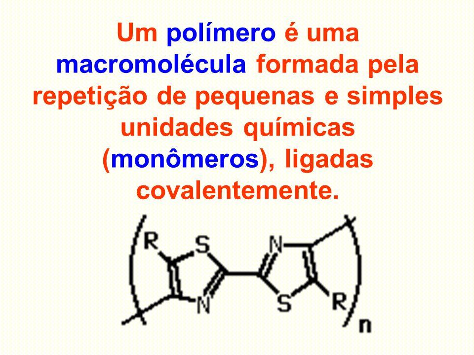 Um polímero é uma macromolécula formada pela repetição de pequenas e simples unidades químicas (monômeros), ligadas covalentemente.