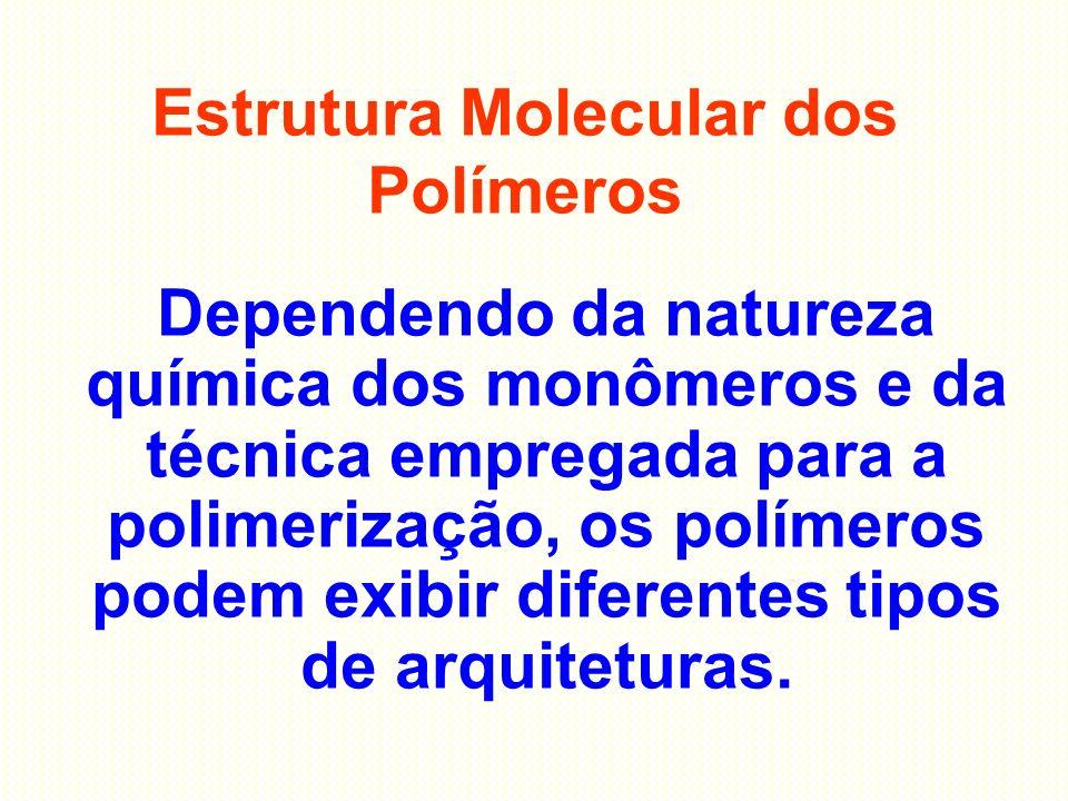 Estrutura Molecular dos Polímeros Dependendo da natureza química dos monômeros e da técnica empregada para a polimerização, os polímeros podem exibir