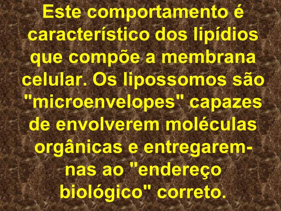 Este comportamento é característico dos lipídios que compõe a membrana celular. Os lipossomos são