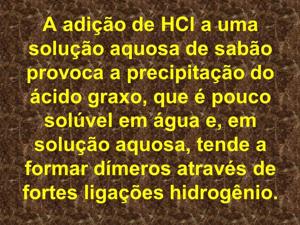 A adição de HCl a uma solução aquosa de sabão provoca a precipitação do ácido graxo, que é pouco solúvel em água e, em solução aquosa, tende a formar