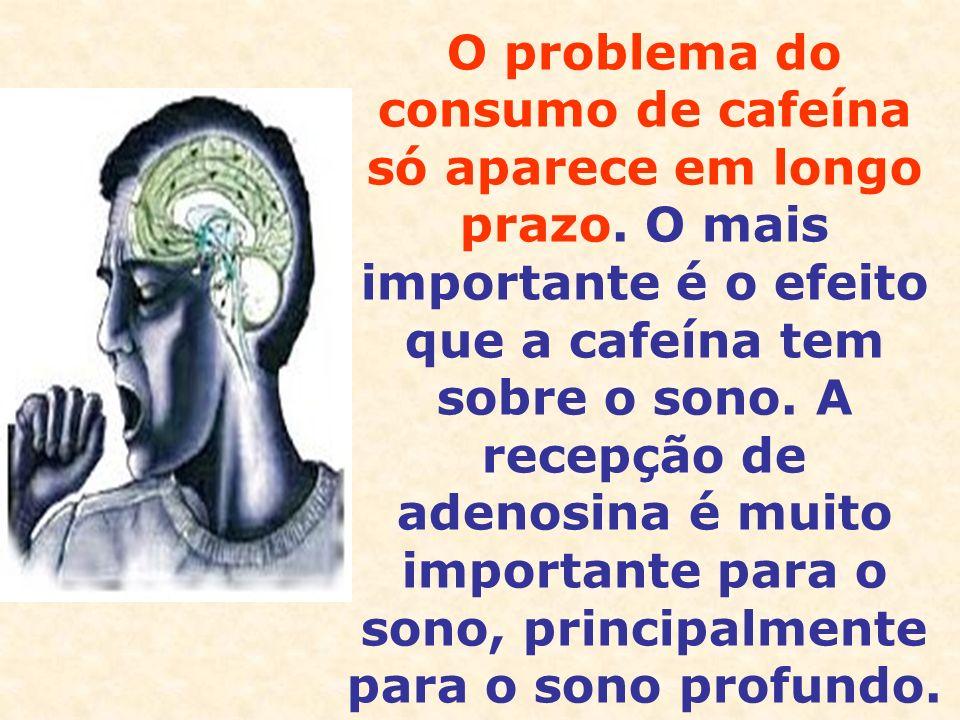 O problema do consumo de cafeína só aparece em longo prazo. O mais importante é o efeito que a cafeína tem sobre o sono. A recepção de adenosina é mui
