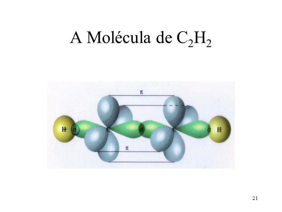 20 Fórmula estrutural do acetileno C H H Cada átomo de carbono é um híbrido sp.