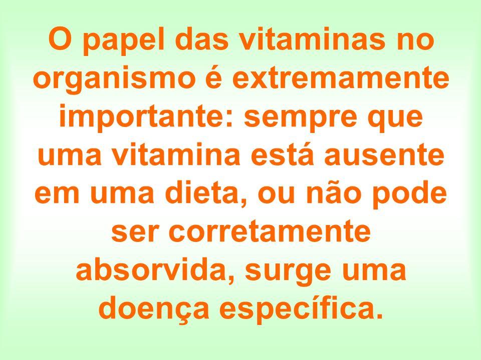O papel das vitaminas no organismo é extremamente importante: sempre que uma vitamina está ausente em uma dieta, ou não pode ser corretamente absorvid