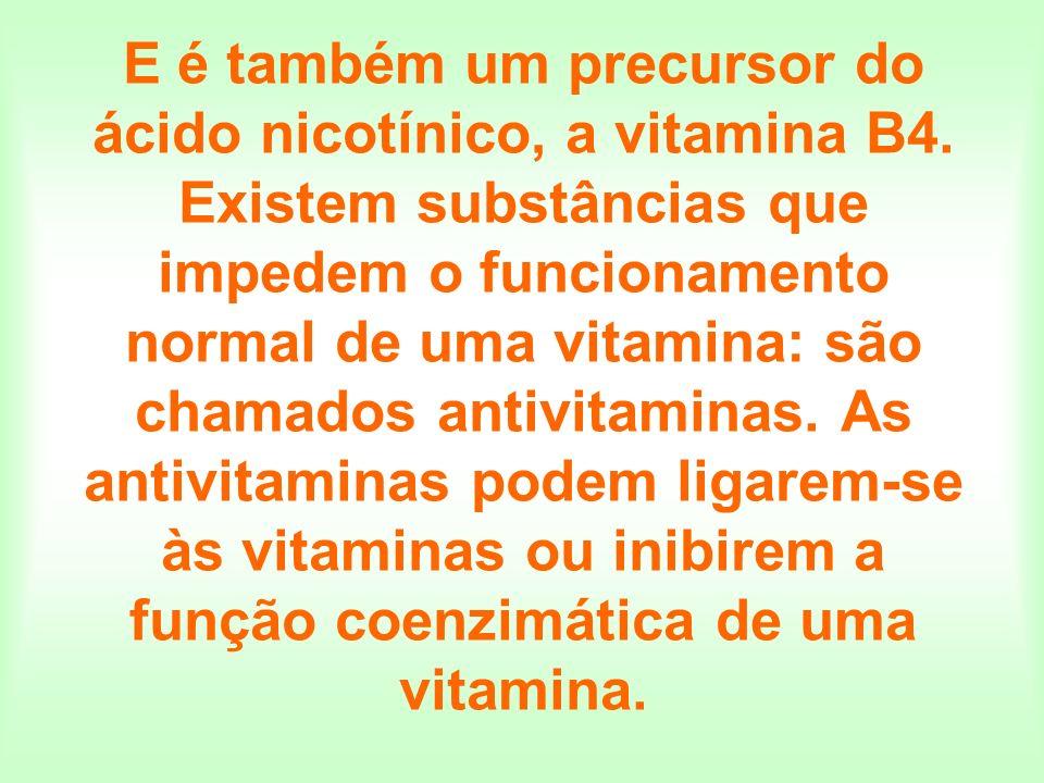 E é também um precursor do ácido nicotínico, a vitamina B4. Existem substâncias que impedem o funcionamento normal de uma vitamina: são chamados antiv