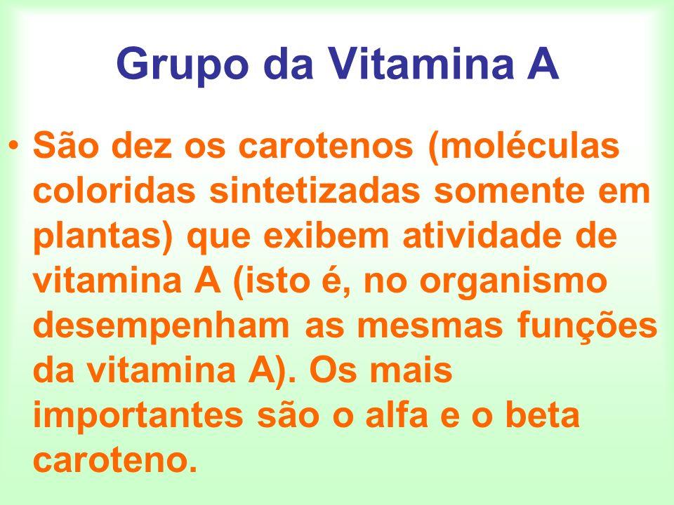 Grupo da Vitamina A São dez os carotenos (moléculas coloridas sintetizadas somente em plantas) que exibem atividade de vitamina A (isto é, no organism