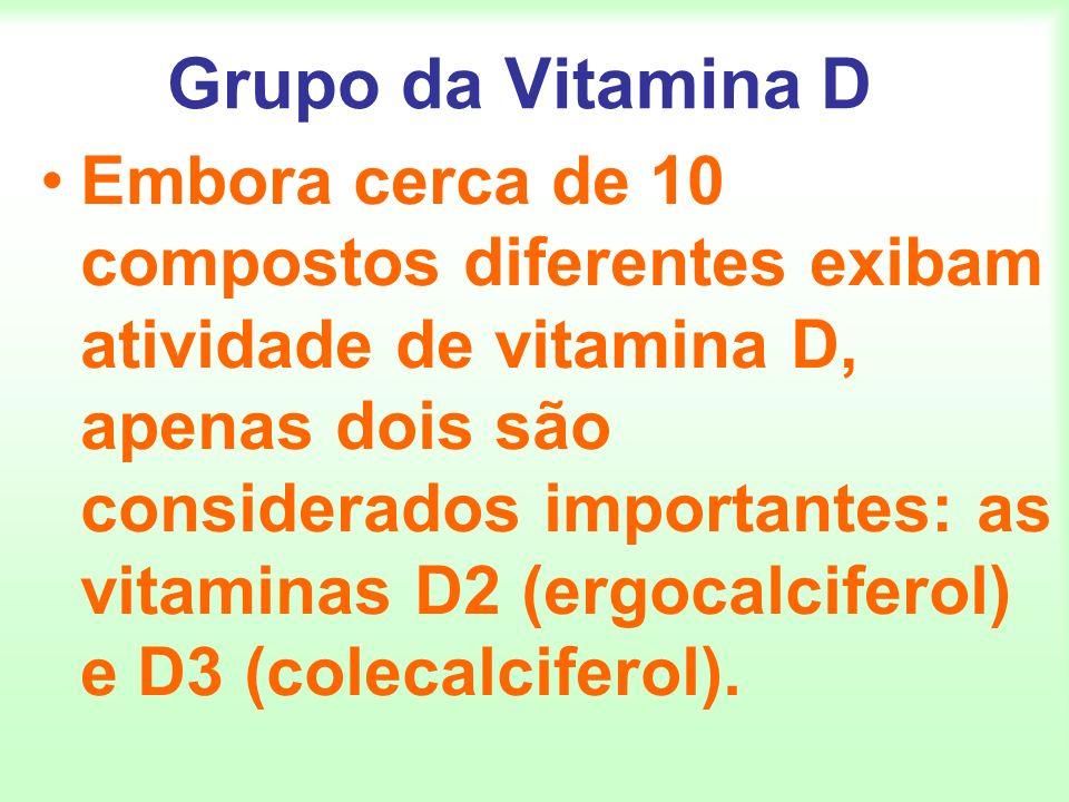 Grupo da Vitamina D Embora cerca de 10 compostos diferentes exibam atividade de vitamina D, apenas dois são considerados importantes: as vitaminas D2
