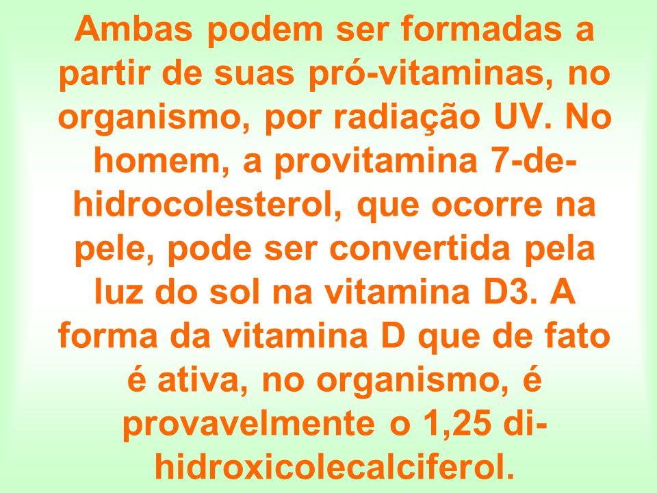 Ambas podem ser formadas a partir de suas pró-vitaminas, no organismo, por radiação UV. No homem, a provitamina 7-de- hidrocolesterol, que ocorre na p