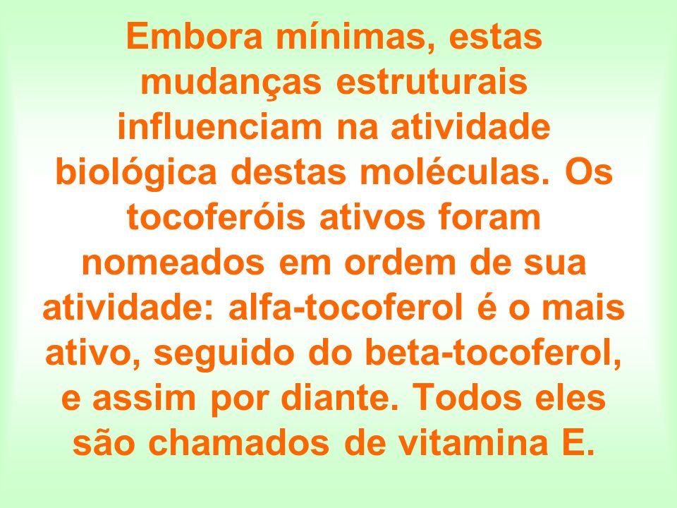 Embora mínimas, estas mudanças estruturais influenciam na atividade biológica destas moléculas. Os tocoferóis ativos foram nomeados em ordem de sua at