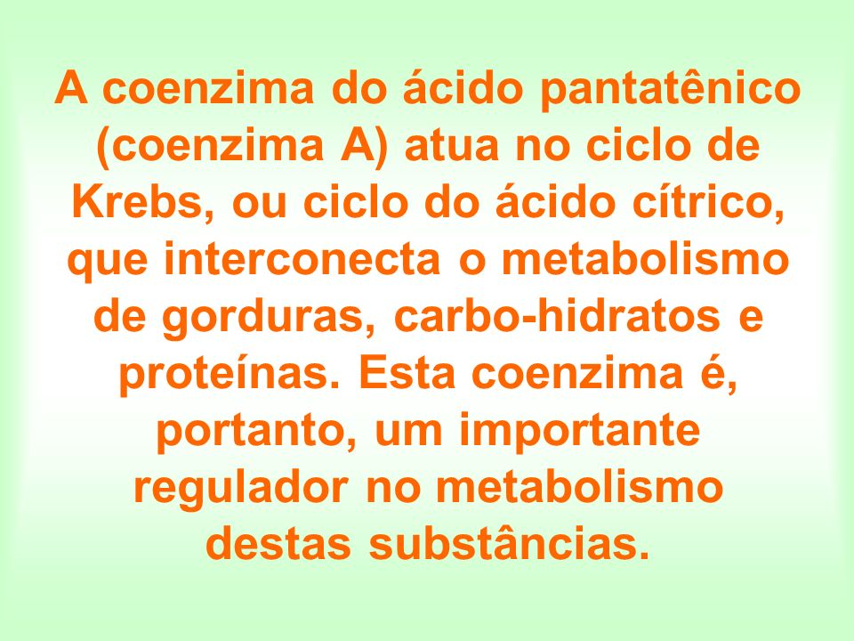 A coenzima do ácido pantatênico (coenzima A) atua no ciclo de Krebs, ou ciclo do ácido cítrico, que interconecta o metabolismo de gorduras, carbo-hidr