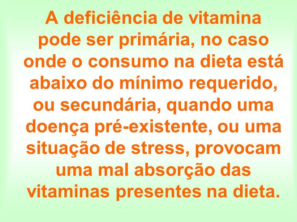A deficiência de vitamina pode ser primária, no caso onde o consumo na dieta está abaixo do mínimo requerido, ou secundária, quando uma doença pré-exi