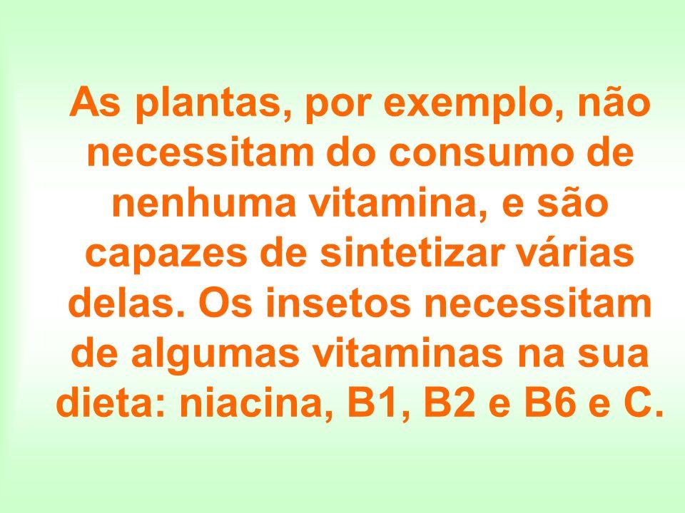 As plantas, por exemplo, não necessitam do consumo de nenhuma vitamina, e são capazes de sintetizar várias delas. Os insetos necessitam de algumas vit