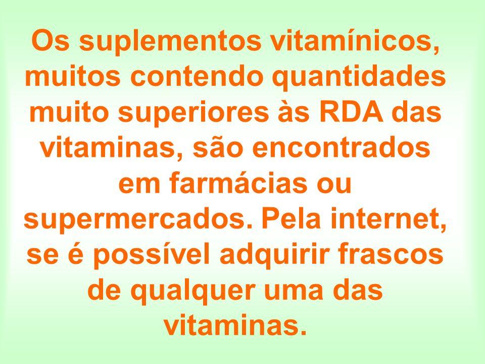 Os suplementos vitamínicos, muitos contendo quantidades muito superiores às RDA das vitaminas, são encontrados em farmácias ou supermercados. Pela int