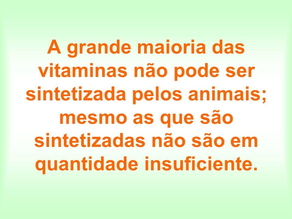 As vitaminas, portanto, devem ser obtidas na dieta alimentar (ou, atualmente, em cápsulas...).