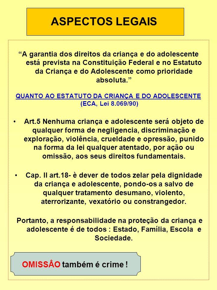 ASPECTOS LEGAIS A garantia dos direitos da criança e do adolescente está prevista na Constituição Federal e no Estatuto da Criança e do Adolescente co