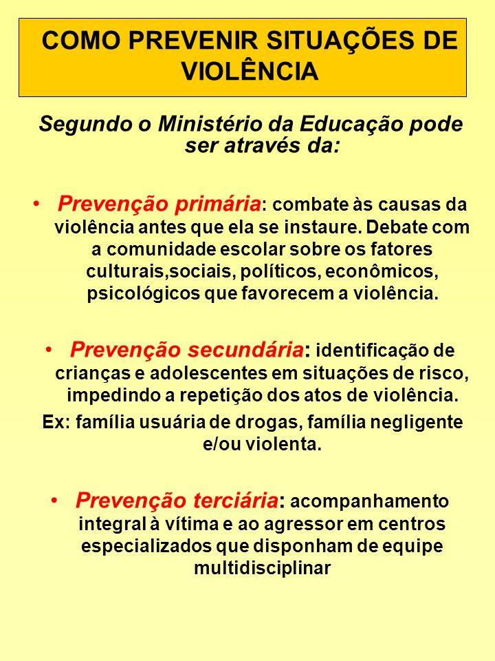 COMO PREVENIR SITUAÇÕES DE VIOLÊNCIA Segundo o Ministério da Educação pode ser através da: Prevenção primária : combate às causas da violência antes q